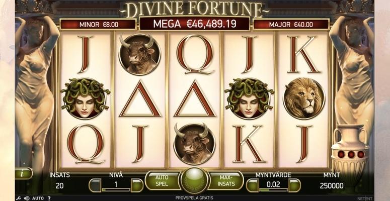 Spela spelautomaten Divine Fortune med free spins och bonus