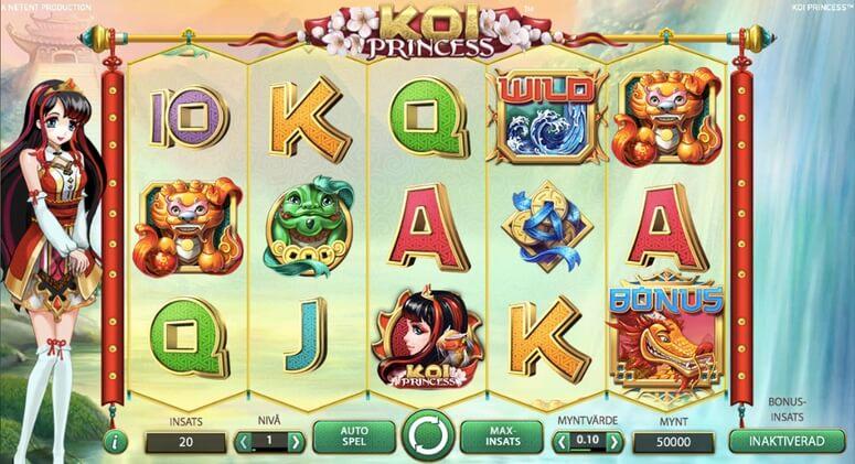 Vinn bonus och free spins på Koi Princess