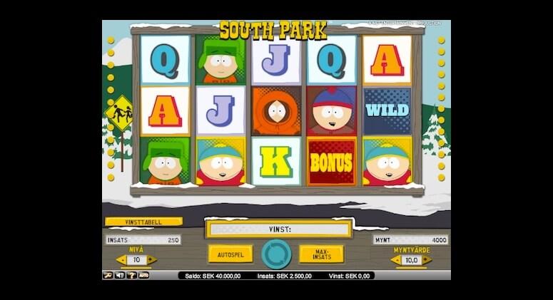 Sloten South Park innehåller bonusar och free spins